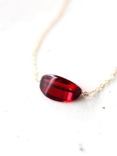 画像1: 14KGF wine color amber neckklace