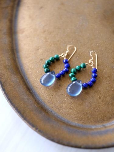 画像1: 14KGF lapis lazuli malachite flowlignt pierce