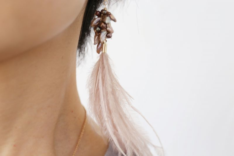 画像3: 14KGF keshpearl feather pierce