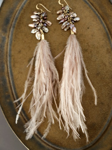 画像1: 14KGF keshpearl feather pierce