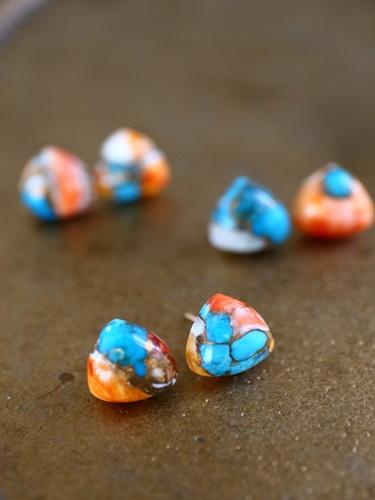 画像1: 14KGF  oystercopperturquoise pierce