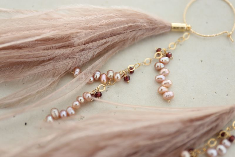 画像2: 14KGF 3way garnet pearl feather pierce