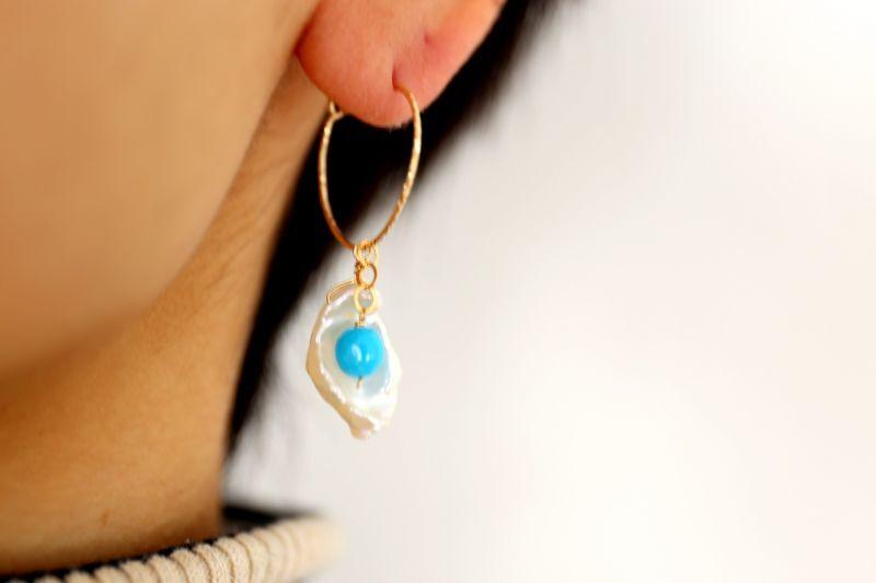 画像4: 14KGF 4way    pearl  Sleeping beautyturquoise pierce