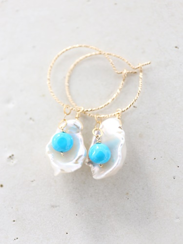 画像1: 14KGF 4way    pearl  Sleeping beautyturquoise pierce