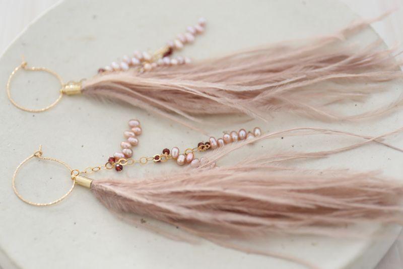 画像3: 14KGF 3way garnet pearl feather pierce