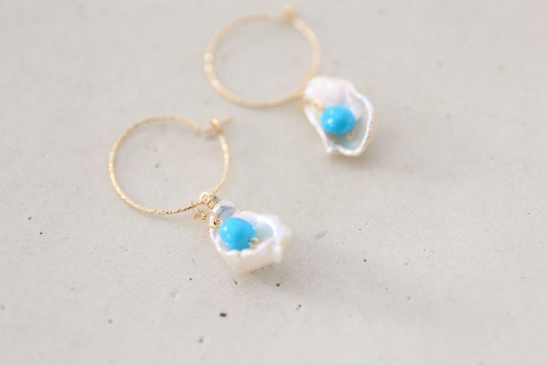 画像3: 14KGF 4way    pearl  Sleeping beautyturquoise pierce