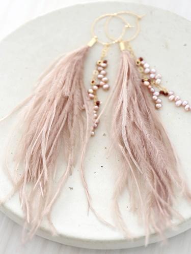 画像1: 14KGF 3way garnet pearl feather pierce