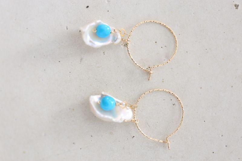 画像2: 14KGF 4way    pearl  Sleeping beautyturquoise pierce