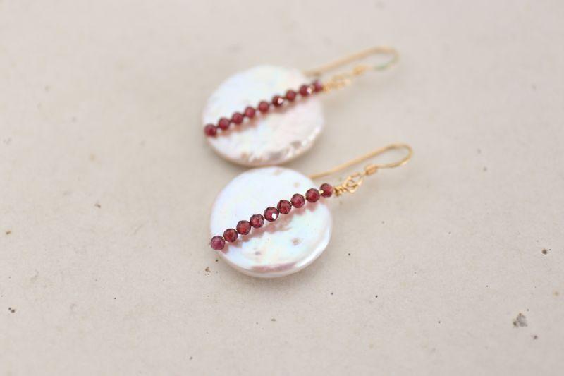 画像3: 14KGF  garnet pearl pierce