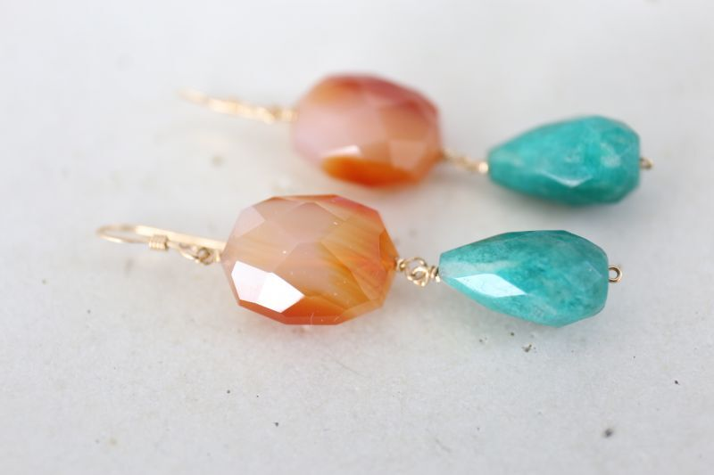 画像5: 14KGF carnelian amazonite  pierce