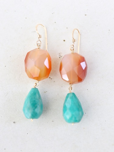 画像1: 14KGF carnelian amazonite  pierce