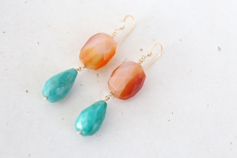 画像2: 14KGF carnelian amazonite  pierce
