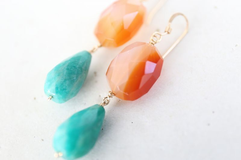 画像4: 14KGF carnelian amazonite  pierce