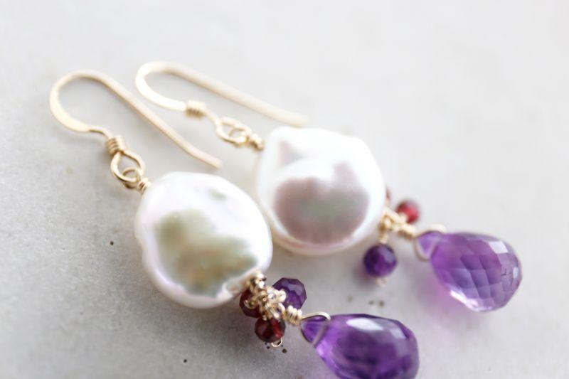 画像3: 14KGF pearl amethyst pierce