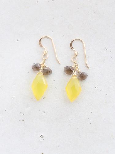 画像1: 14KGF yellow smoky quartz pierce