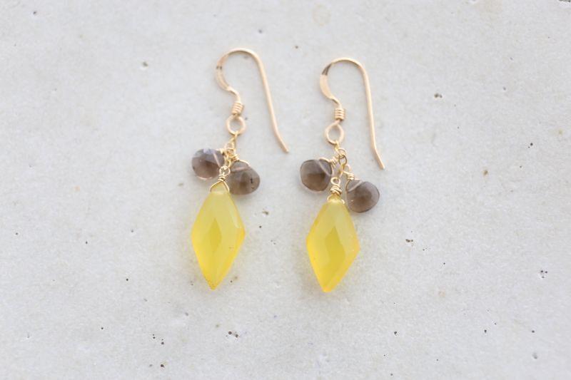画像2: 14KGF yellow smoky quartz pierce