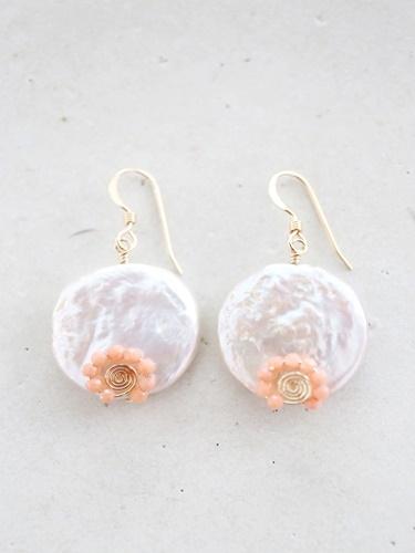 画像1: 14KGF pearl pinkcoral pierce