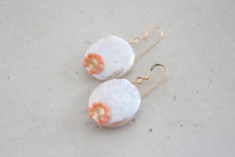 画像2: 14KGF pearl pinkcoral pierce