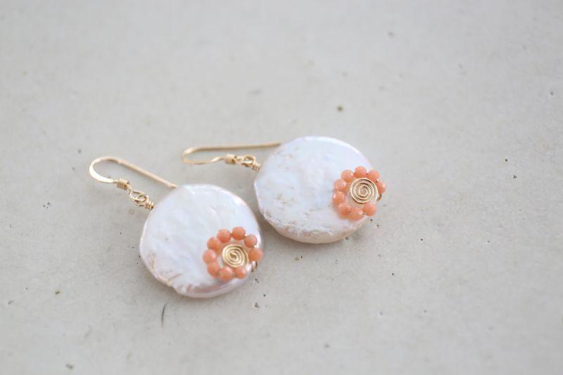 画像3: 14KGF pearl pinkcoral pierce