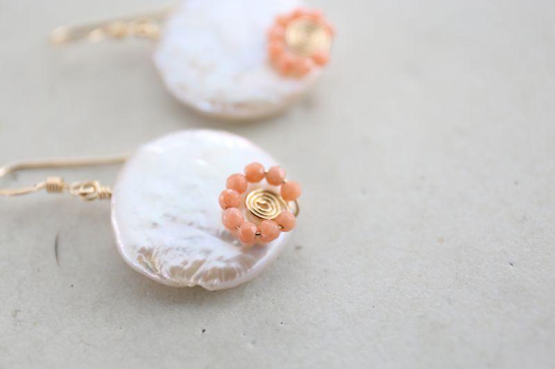 画像4: 14KGF pearl pinkcoral pierce