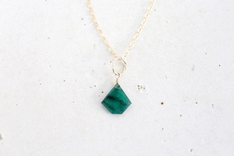 画像3: 14KGF Lsize emerald necklace