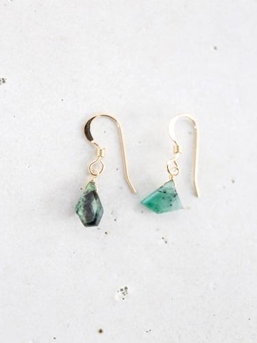 画像1: 14KGF  Ssize emerald pierce