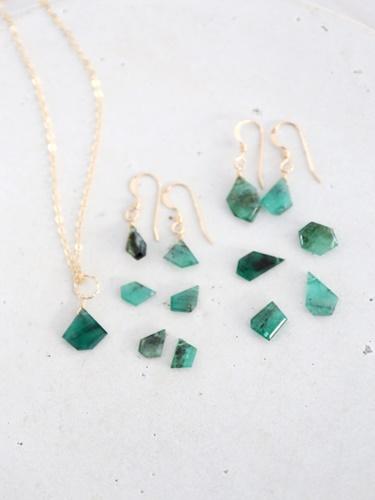 画像1: 14KGF Msize emerald pierce