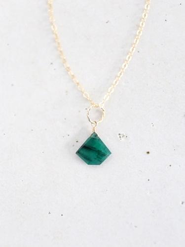 画像1: 14KGF Lsize emerald necklace