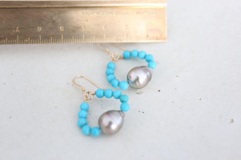 画像3: 14KGF turquoise South Sea Pearl pierce