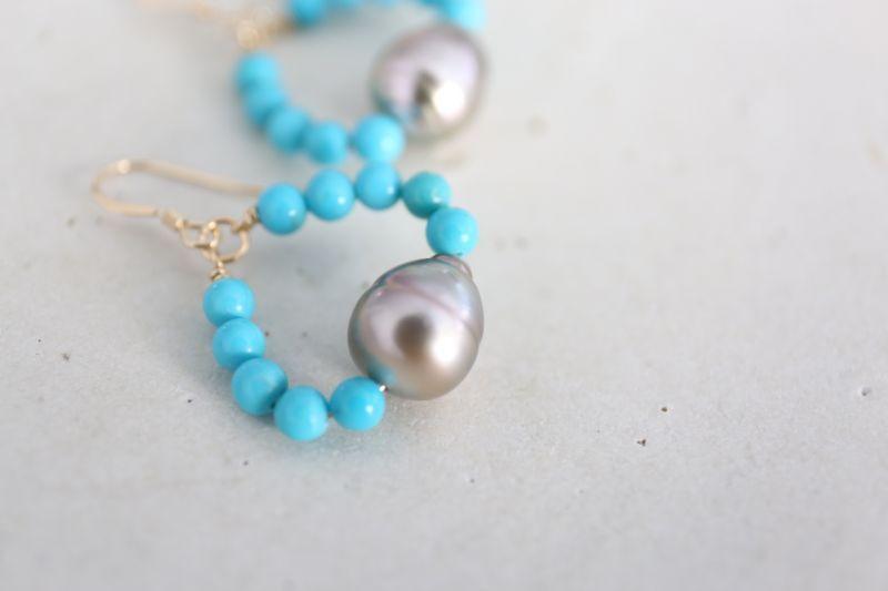 画像4: 14KGF turquoise South Sea Pearl pierce