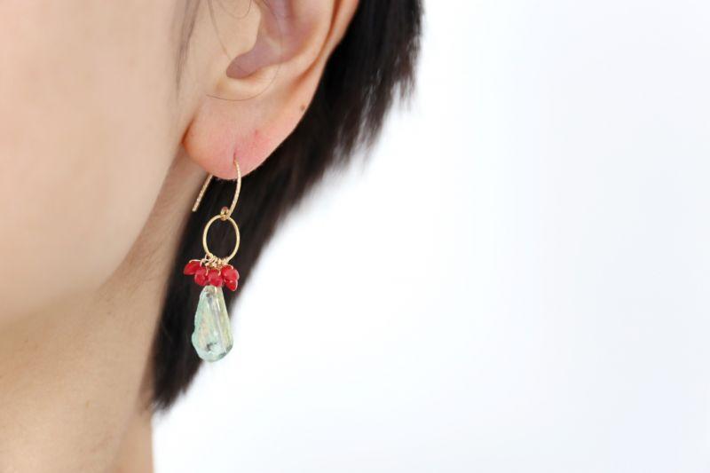 画像3: 14KGF coral roman glass pierce