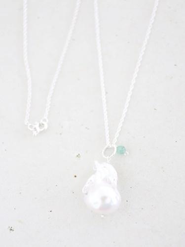 画像1: SILVER925 emerald pearl  necklace
