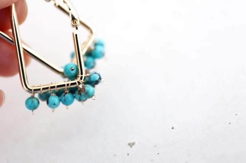 画像5: 14KGF turquoise squarehoop pierce