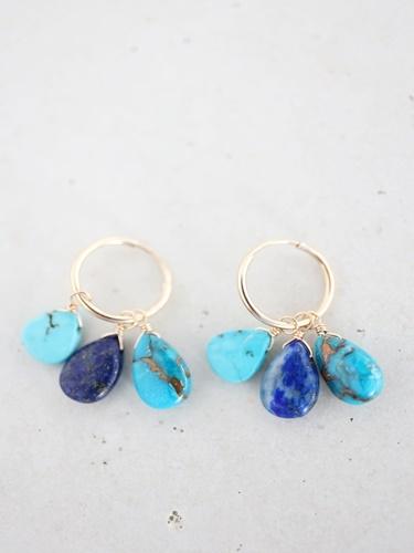 画像1: 14KGF turquoise  lapis lazuli pierce