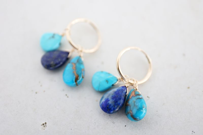 画像4: 14KGF turquoise  lapis lazuli pierce