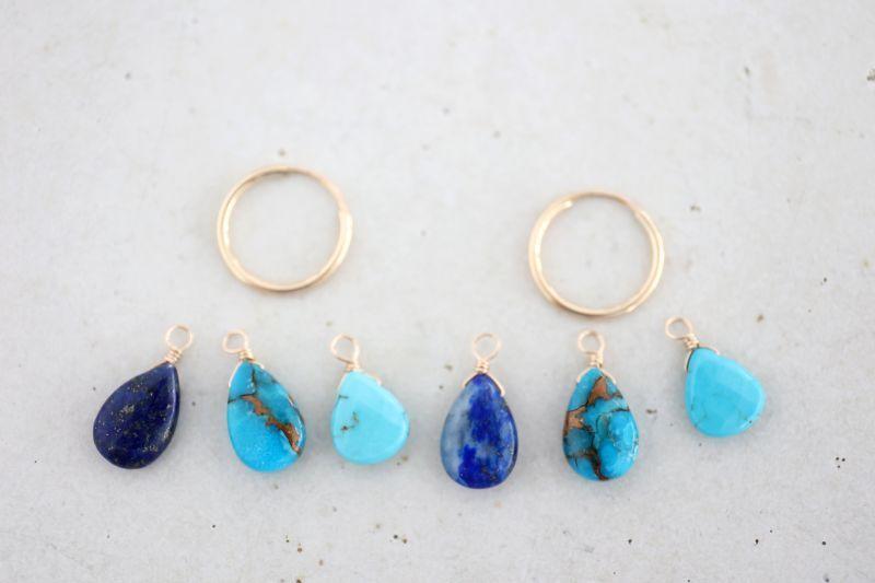 画像3: 14KGF turquoise  lapis lazuli pierce