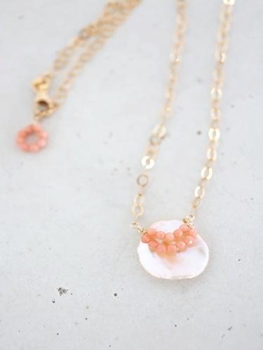 画像1: 14KGF coral keshipearl necklace