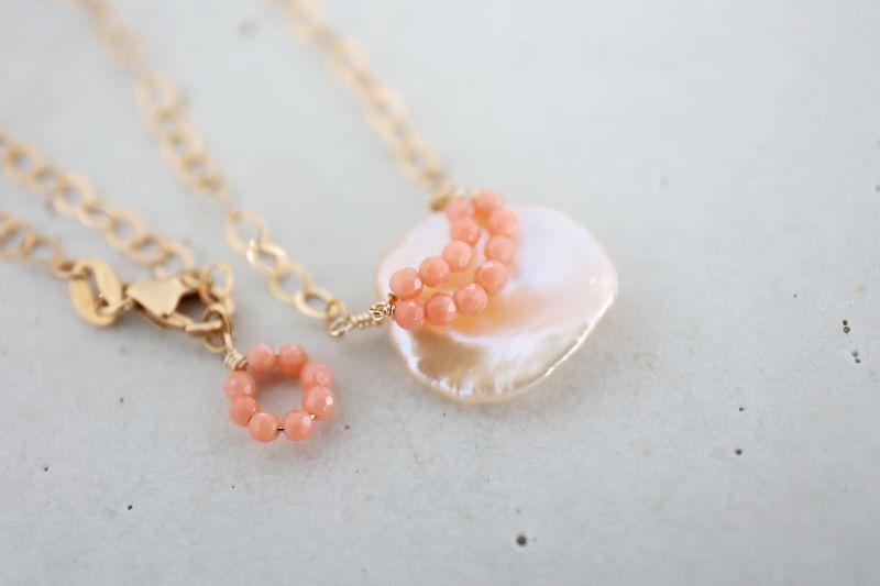 画像2: 14KGF coral keshipearl necklace