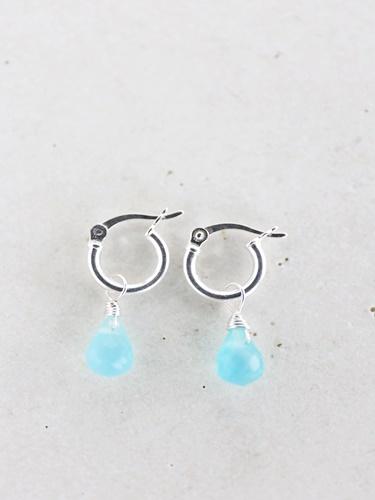 画像1: SILVER925 sea_blue_chalcedony pierce