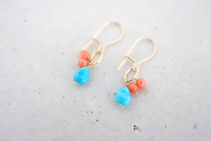 画像2: 14KGF  coral turquoise pierce