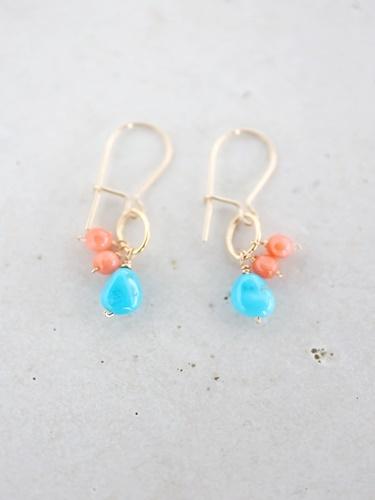 画像1: 14KGF  coral turquoise pierce