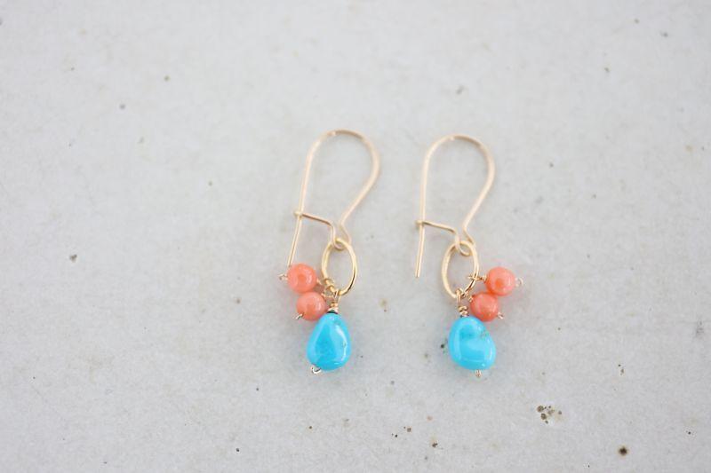 画像3: 14KGF  coral turquoise pierce