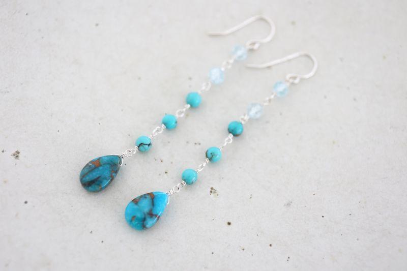 画像2: SILVER925 topaz turquoise pierce