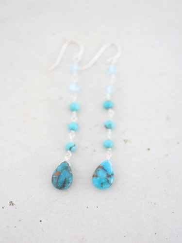 画像1: SILVER925 topaz turquoise pierce