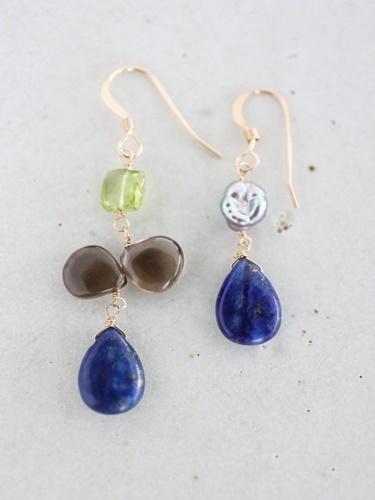 画像1: 14KGF  smoky quartz  lapis lazuli pierce