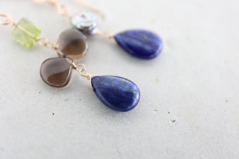 画像3: 14KGF  smoky quartz  lapis lazuli pierce
