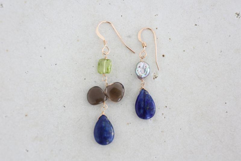画像2: 14KGF  smoky quartz  lapis lazuli pierce