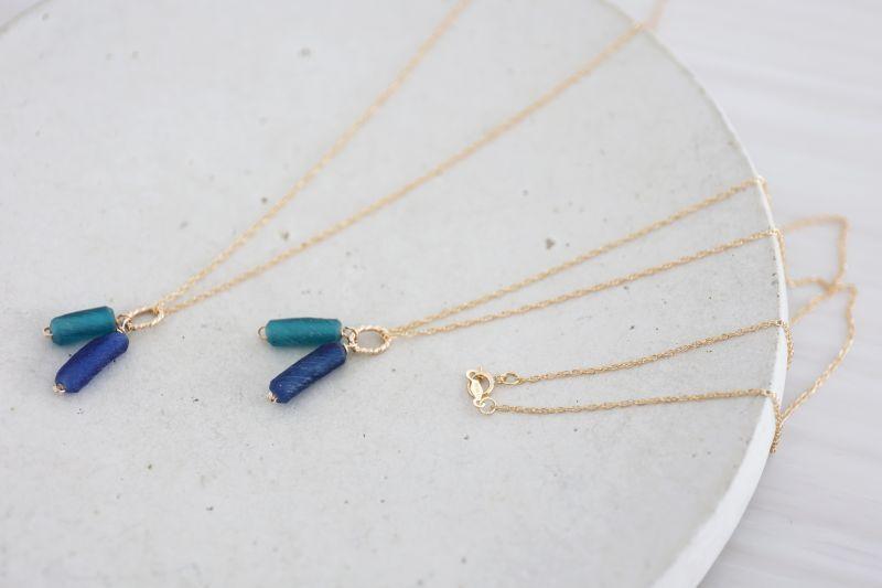 画像2: 14KGF roman glass necklace