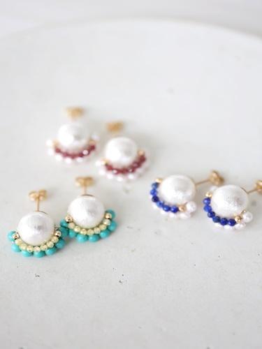 画像1: 14KGF  cotton pearl pierce