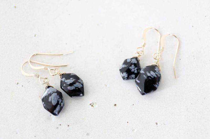 画像3: 14KGF snowflake-obsidian  pierce